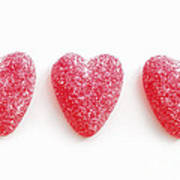 Red Candy Hearts Art Print