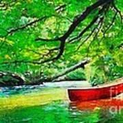 Red Canoe Art Print by Elizabeth Coats