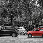 Red Car In Paris Art Print