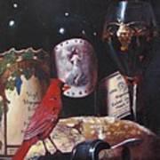 Red Cardinal Red Wine Sin Art Print