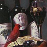 Red Cardinal With Red Wine 2 Art Print