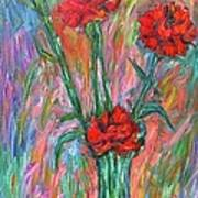 Red Carnation Melody Art Print