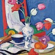 Red Chair And Tulips, C.1919 Art Print