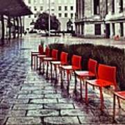 Red Chairs At Mint Plaza Art Print
