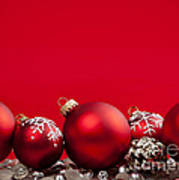Red Christmas Baubles And Decorations Art Print by Elena Elisseeva