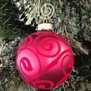 Red Christmas Ornament Art Print