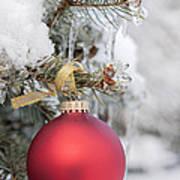 Red Christmas Ornament On Snowy Tree Art Print