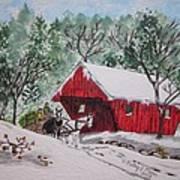 Red Covered Bridge Christmas Art Print