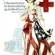 Red Cross World War 1 Poster  1918 Art Print by Daniel Hagerman