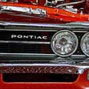 Red Customized Retro Pontiac-front Left Art Print