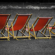 Red Deck Chairs Art Print by Mikhail Pankov