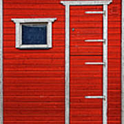 Red Door And Window With White Frames - Art Print
