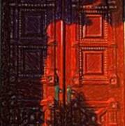 Red Door Behind Mysterious Shadow  Art Print