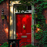 Red Door In Chicago Art Print