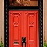 Red Door On New York City Brownstone Art Print