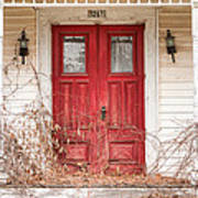 Red Doors - Charming Old Doors On The Abandoned House Art Print by Gary Heller