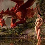 Red Dragon And Nude Bather Art Print