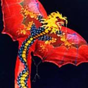 Red Dragon Kite Art Print