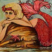 Red Dust Mermaid Art Print