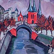 Red Elisabeth Riverbank Berlin Art Print