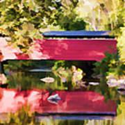 Red Fairhill Covered Bridge Art Print