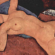 Red Female Nude Painting Art Print by Amedeo Modigliani