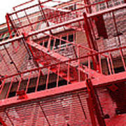 Red Fire Escape Art Print