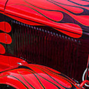 Red Flames Hot Rod Art Print by Garry Gay