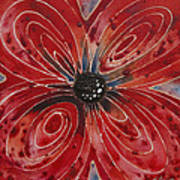 Red Flower 2 - Vibrant Red Floral Art Art Print
