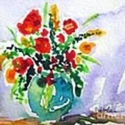 Red Flowers In A Vase Art Print