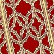 Gothic Pattern On Red Art Print