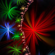 Red Green And Blue Fractal Stars Art Print