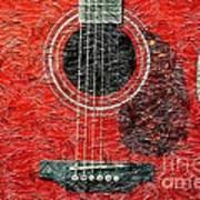Red Guitar Center - Digital Painting - Music Art Print
