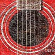 Red Guitar - Digital Painting - Music Art Print