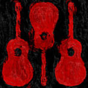Red Guitars Art Print