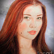 Red Hair And Blue Eyed Beauty With A Beauty Mark II Art Print