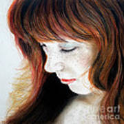 Red Hair And Freckled Beauty II Art Print
