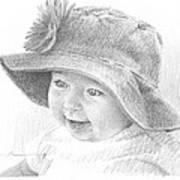 Red Hat Baby Pencil Portrait Art Print