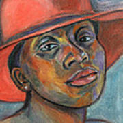 Red Hat Lady Art Print