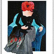 Red Head With Black Cat Art Print by Eve Riser Roberts