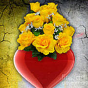 Red Heart Vase With Yellow Roses Art Print