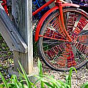 Red Hippie Bike Front Wheel Art Print