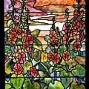 Stained Glass Tiffany Red Hollyhocks In Landscape In Watercolor Art Print
