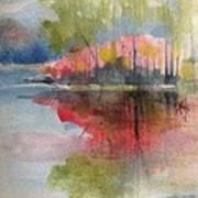 Red Lake Reflection #2 Art Print