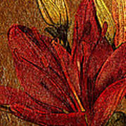 Red Lily Gold Leaf Art Print