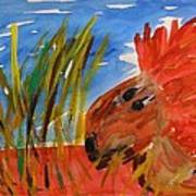 Red Lion In Tall Yellow Grass Art Print