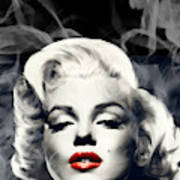 Red Lips Marilyn In Smoke Art Print