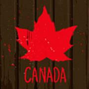 Red Maple Leaf On Brown Wood Wall Art Print