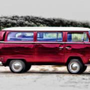 Red Microbus Art Print