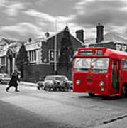 Red Midland Bus And Sheep - 1960's    Ref-126 Art Print